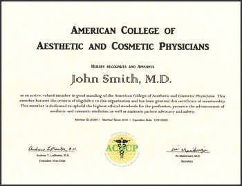 Certificate for the American College of Aesthetic and Cosmetic Physicians